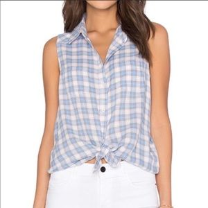 NWT Paige Flannel Button Down Sleeveless Top